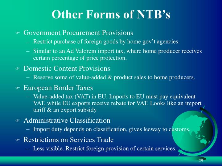 Other Forms of NTB's