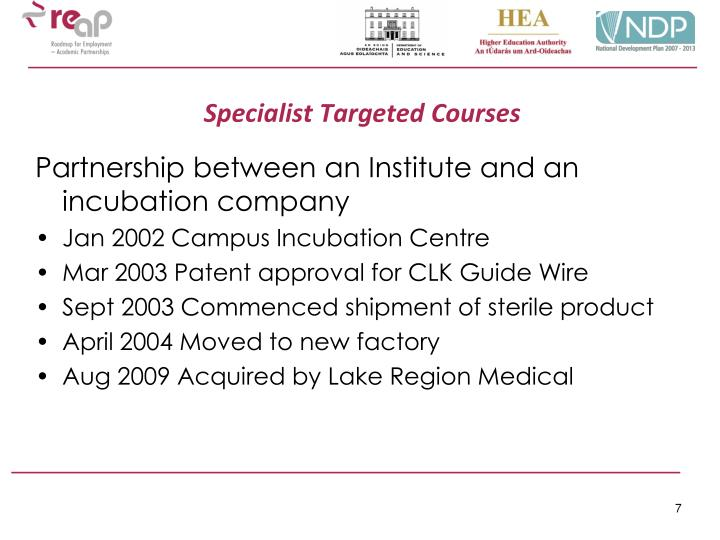Specialist Targeted Courses