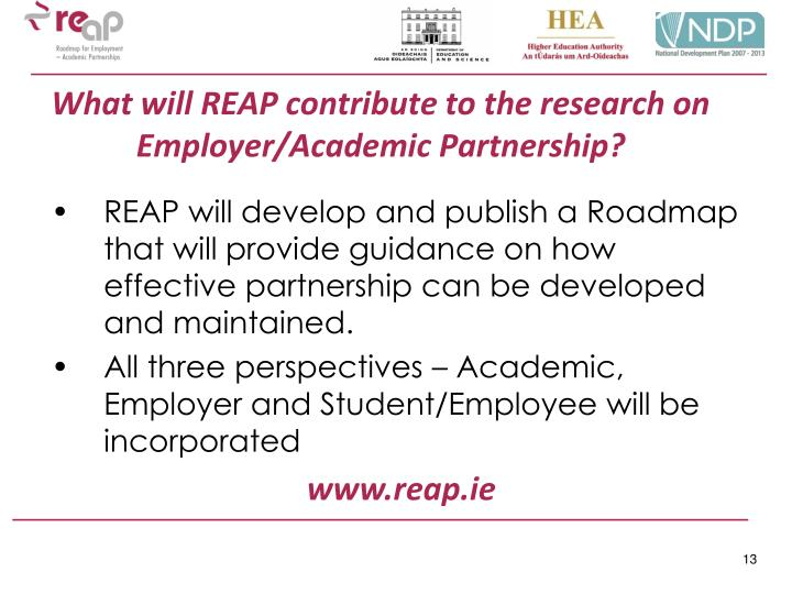 What will REAP contribute to the research on Employer/Academic Partnership?