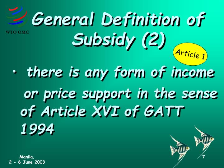 General Definition of Subsidy (2)