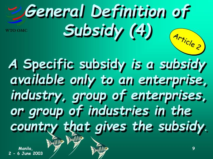 General Definition of Subsidy (4)
