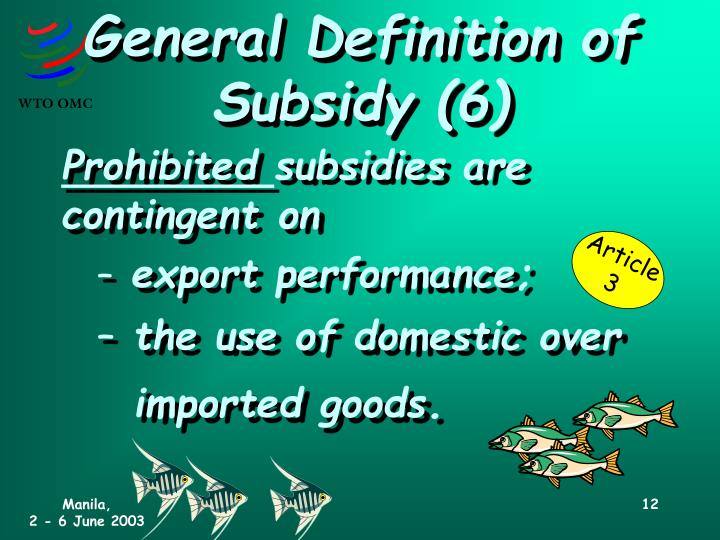 General Definition of Subsidy (6)