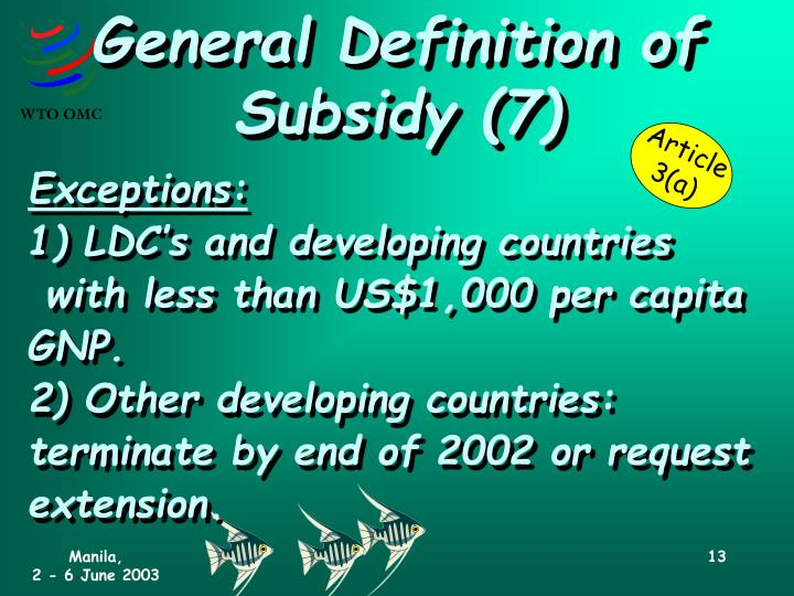 General Definition of Subsidy (7)