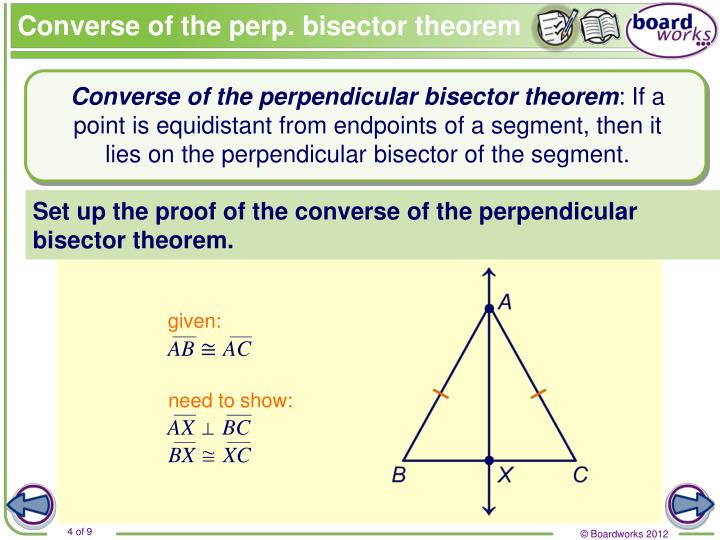 Converse of the perp. bisector theorem
