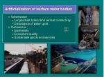 artificialisation of surface water bodies