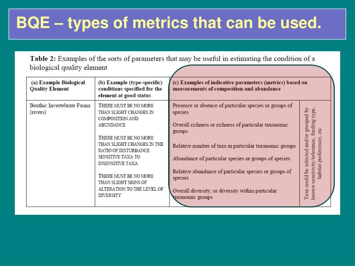 BQE – types of metrics that can be used.