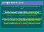 excerpts from the wfd