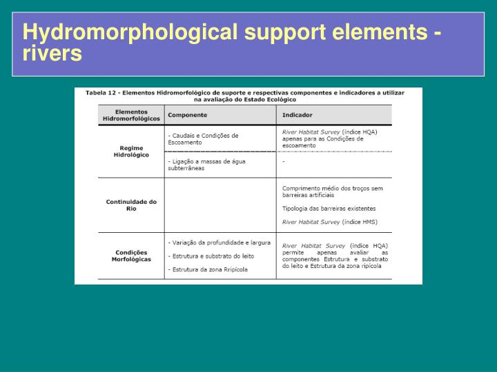 Hydromorphological support elements - rivers