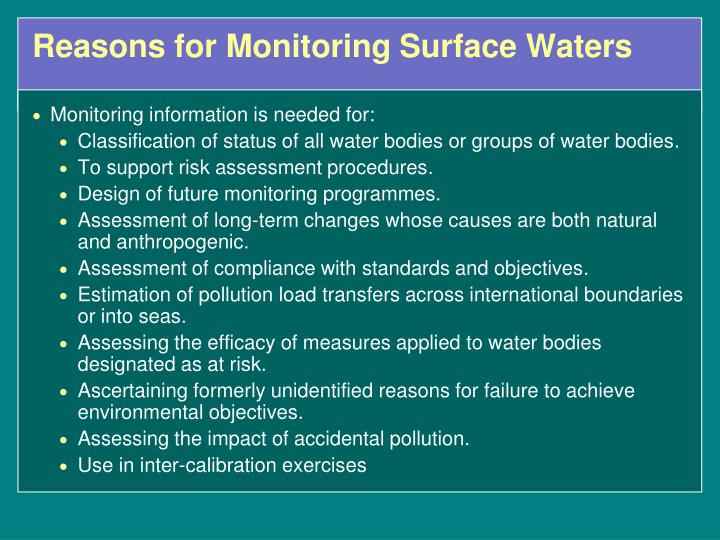 Reasons for Monitoring Surface Waters