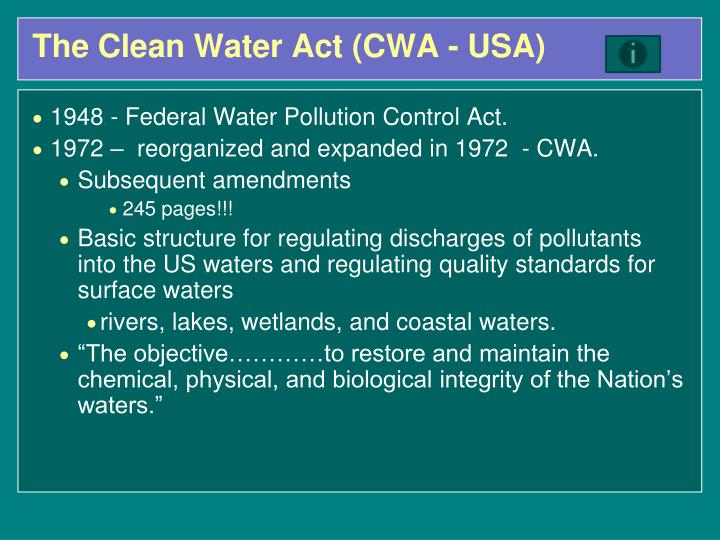 The Clean Water Act (CWA - USA)