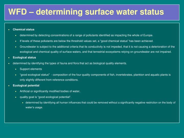 WFD – determining surface water status