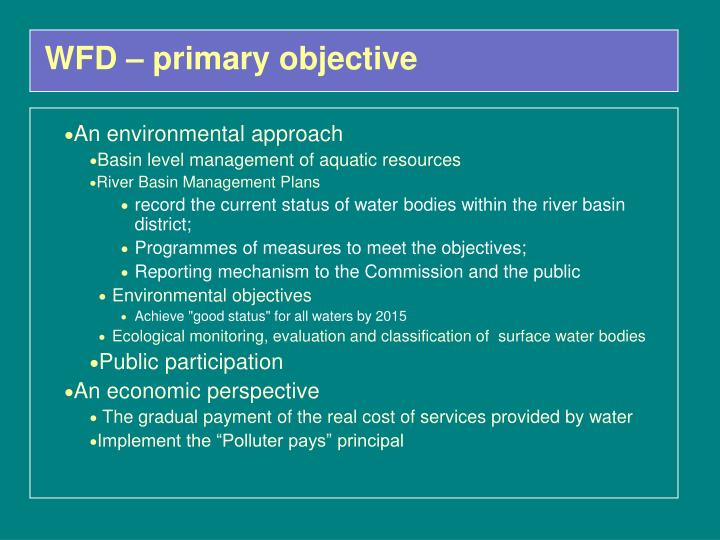 WFD – primary objective