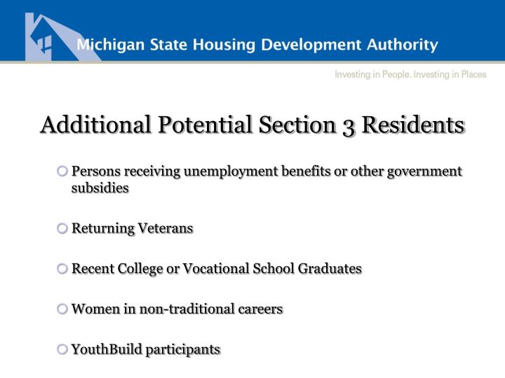Additional Potential Section 3 Residents