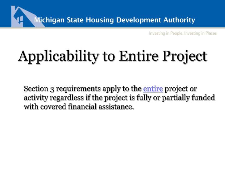Applicability to Entire Project