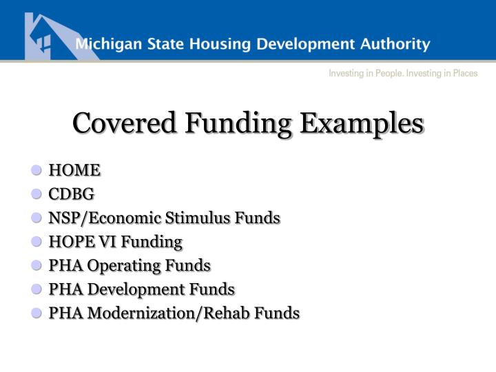 Covered Funding Examples