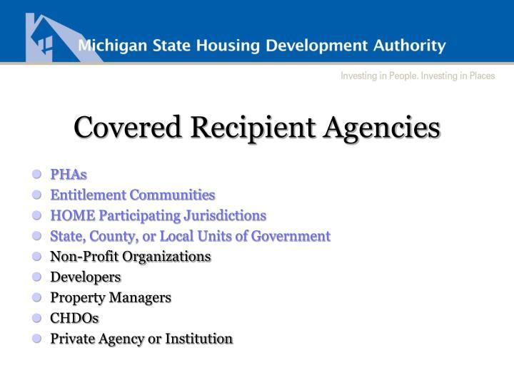 Covered Recipient Agencies
