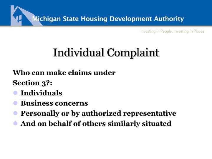 Individual Complaint
