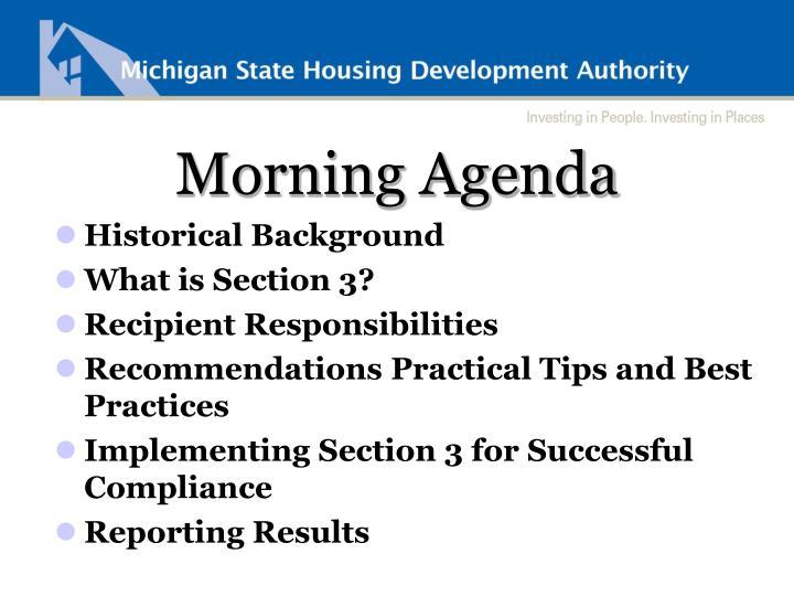 Morning Agenda
