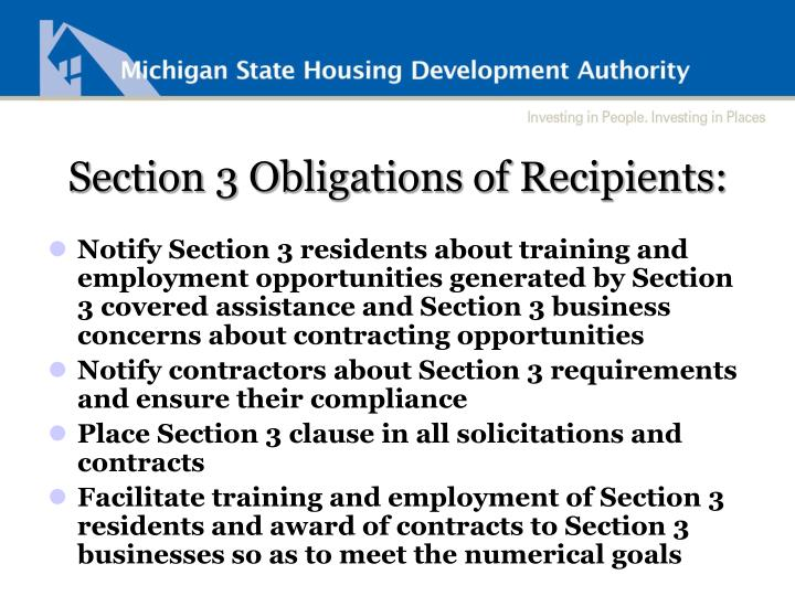 Section 3 Obligations of Recipients: