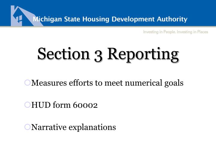 Section 3 Reporting
