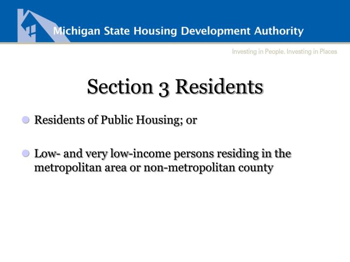 Section 3 Residents