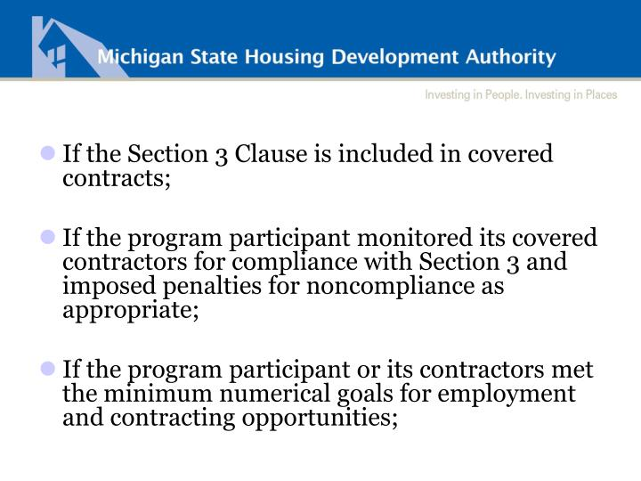 If the Section 3 Clause is included in covered contracts;