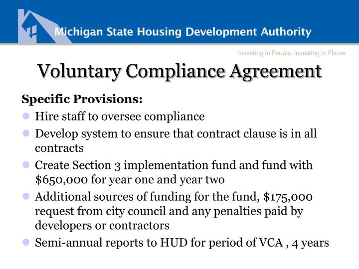 Voluntary Compliance Agreement