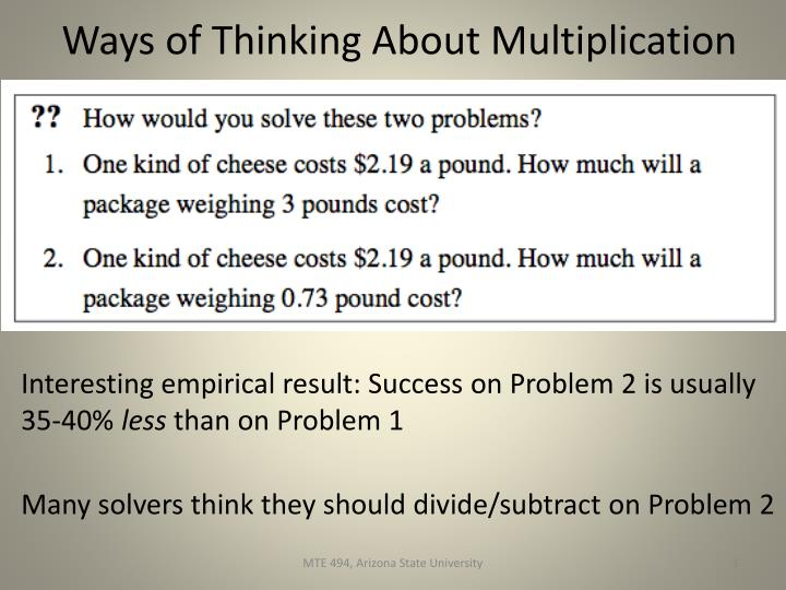 ways of thinking about multiplication