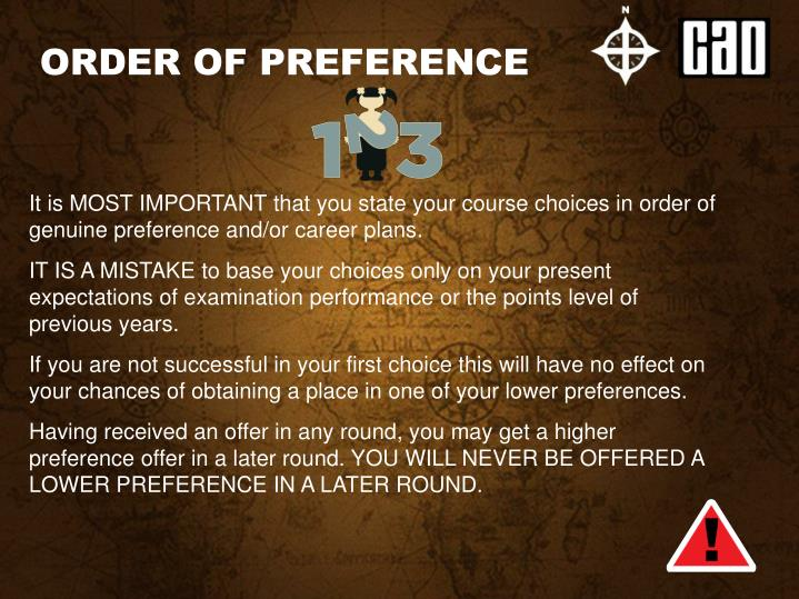 ORDER OF PREFERENCE