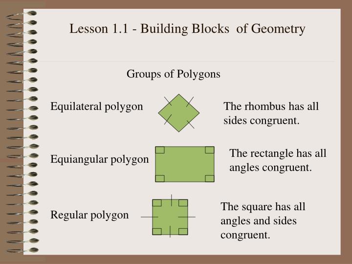 Lesson 1.1 - Building Blocks  of Geometry
