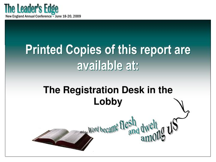 Printed Copies of this report are available at: