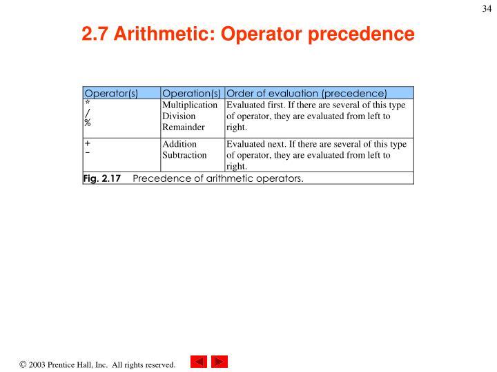 2.7 Arithmetic: Operator precedence