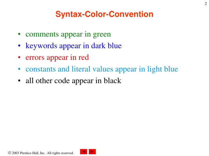 Syntax-Color-Convention