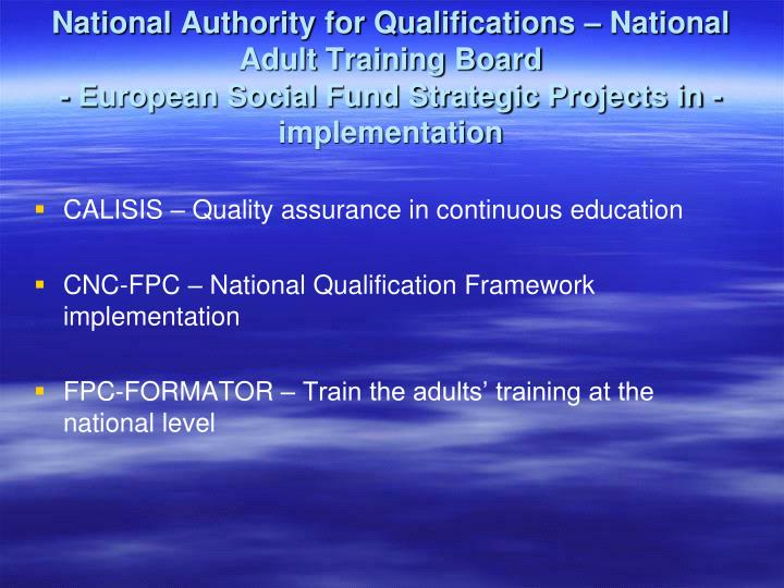 National Authority for Qualifications – National Adult Training Board