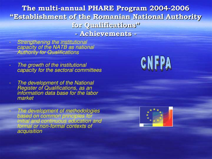 """The multi-annual PHARE Program 2004-2006 """"Establishment of the Romanian National Authority for Qualifications"""""""