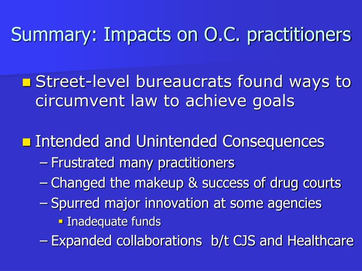 Summary: Impacts on O.C. practitioners