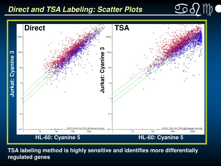 Direct and TSA Labeling: Scatter Plots