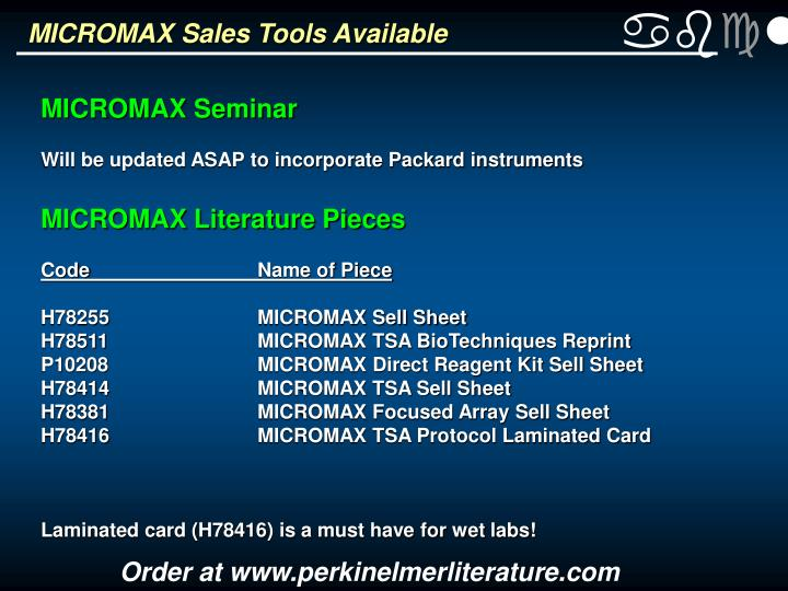 MICROMAX Sales Tools Available