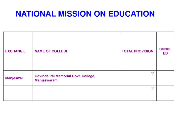 NATIONAL MISSION ON EDUCATION
