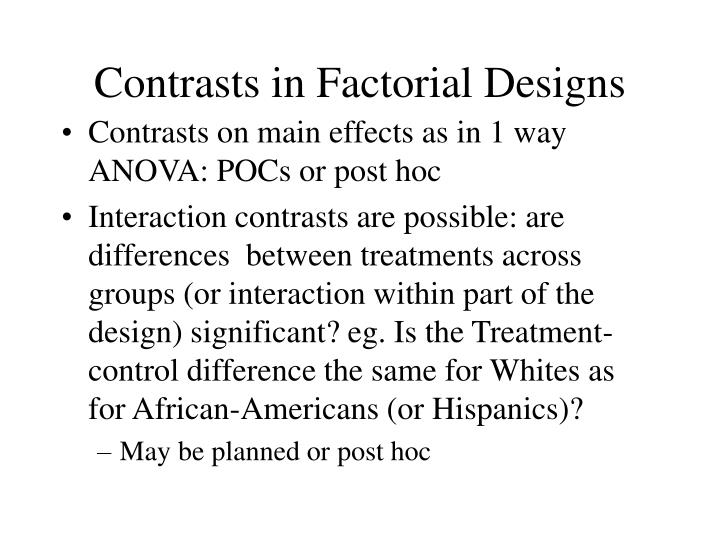 Contrasts in Factorial Designs