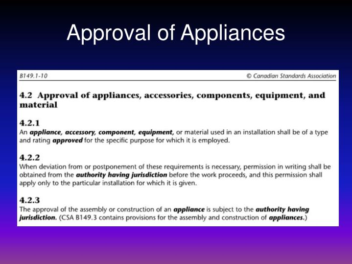 Approval of Appliances