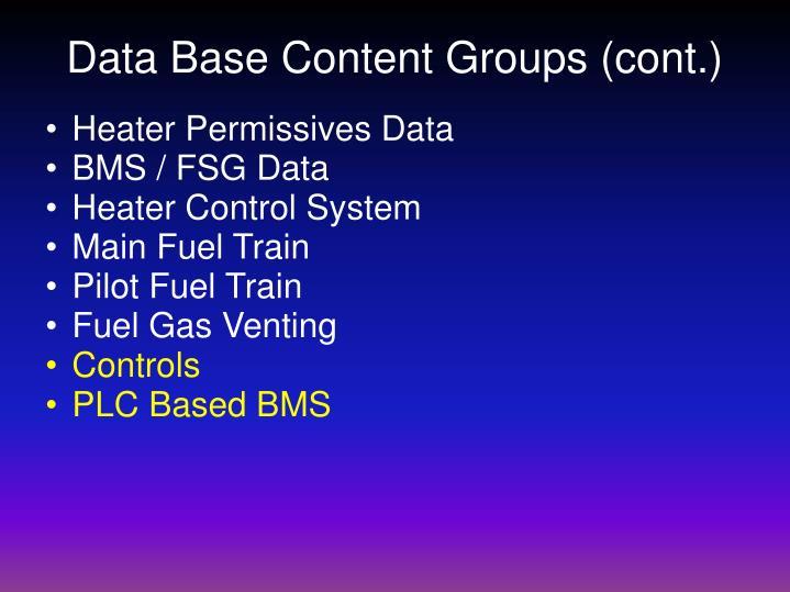 Data Base Content Groups (cont.)