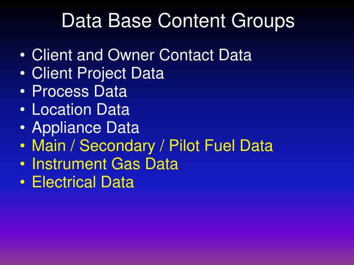 Data Base Content Groups
