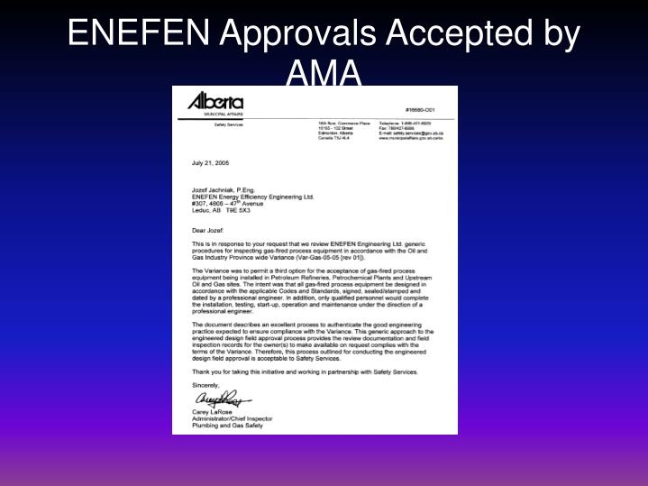 ENEFEN Approvals Accepted by AMA