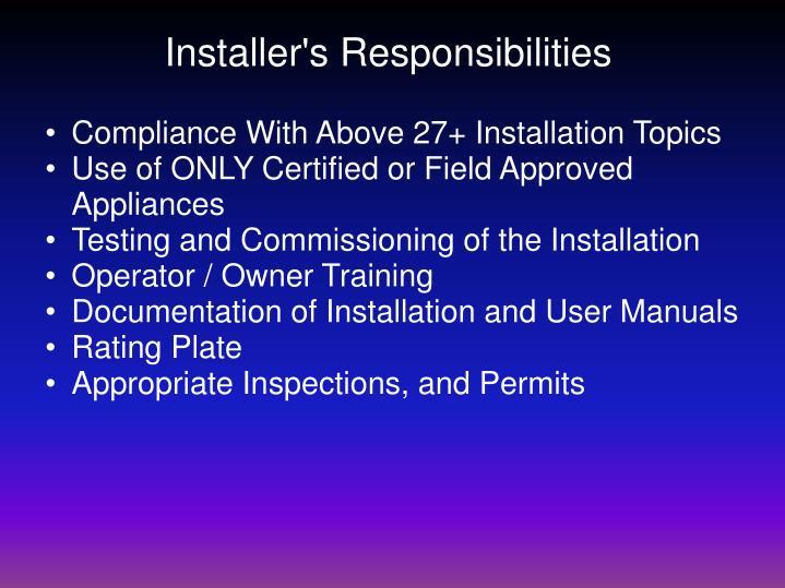 Installer's Responsibilities