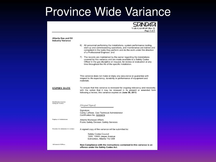Province Wide Variance