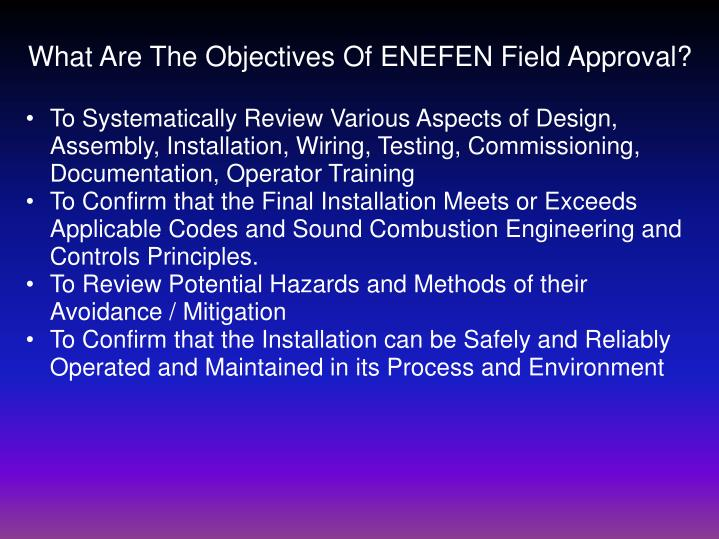 What Are The Objectives Of ENEFEN Field Approval?