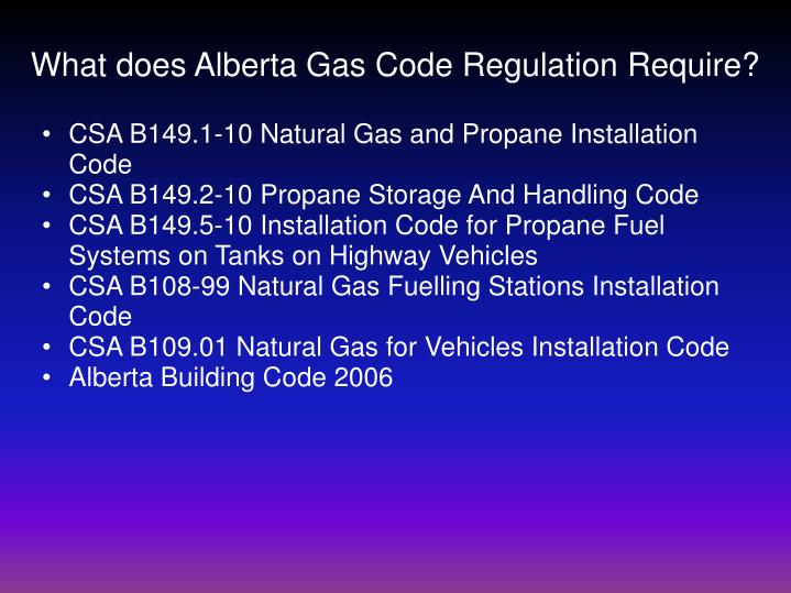 What does Alberta Gas Code Regulation Require?