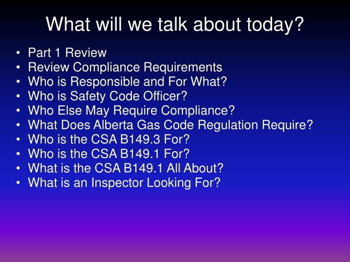 What will we talk about today?