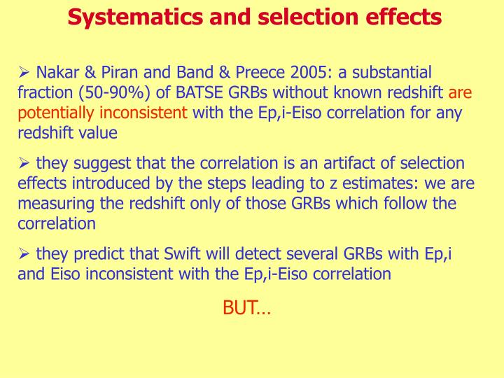 Systematics and selection effects